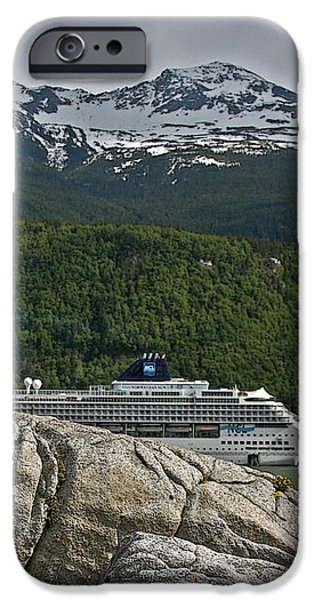 Pause in Wonder at Cruise Ships in Alaska iPhone Case by John Haldane