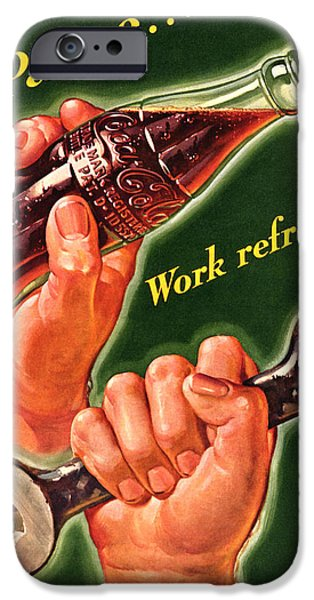 Work Tool Digital iPhone Cases - Pause.......Work Refreshed - Coca Cola iPhone Case by Nomad Art And  Design
