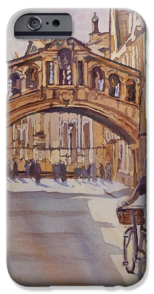 Universities Paintings iPhone Cases - Pausing Before the Bridge iPhone Case by Jenny Armitage
