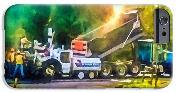 Recently Sold -  - Machinery iPhone Cases - Pavement machine laying fresh asphalt  on top of the gravel base during highway construction iPhone Case by Lanjee Chee