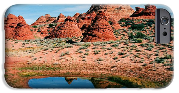 Red Rock iPhone Cases - Paw Hole Reflections iPhone Case by Mike  Dawson