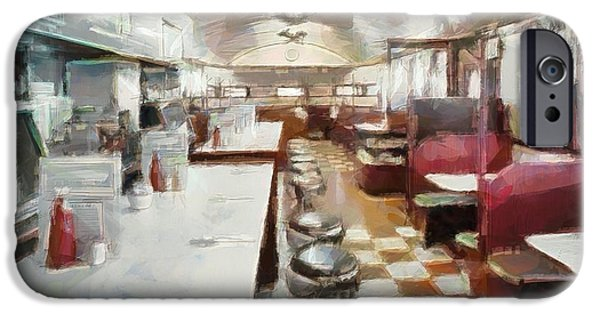 Waiter Mixed Media iPhone Cases - Pawtucket Diner Interior iPhone Case by Dan Sproul