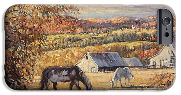 The Horse iPhone Cases - Paysage des cantons iPhone Case by Pierre Morin