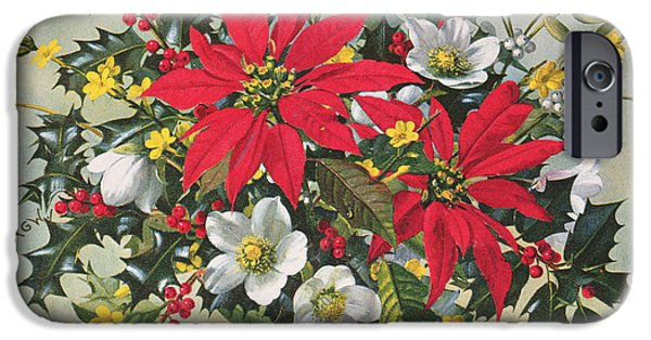 Berry iPhone Cases - Pb274 Christmas Flowers iPhone Case by Albert Williams