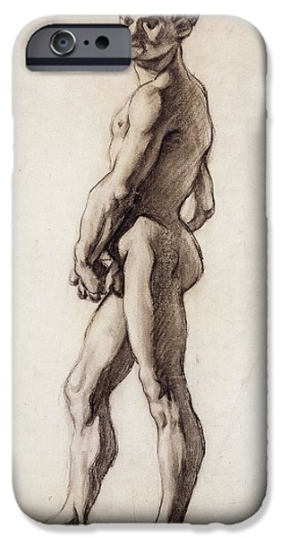 Portraiture Drawings iPhone Cases - Male Nude iPhone Case by Paul Cezanne