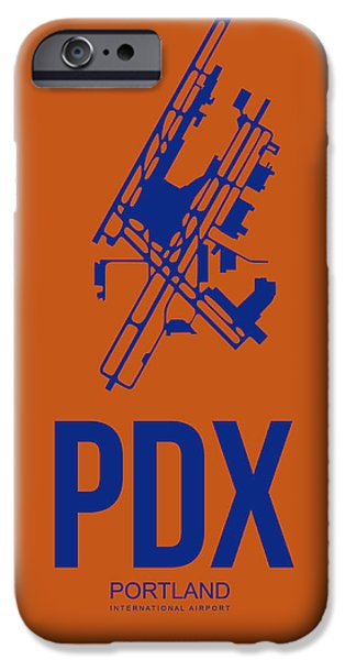 Town iPhone Cases - PDX Portland Airport Poster 1 iPhone Case by Naxart Studio