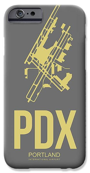 Town Mixed Media iPhone Cases - PDX Portland Airport Poster 2 iPhone Case by Naxart Studio