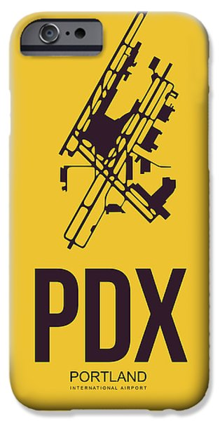 Town iPhone Cases - PDX Portland Airport Poster 3 iPhone Case by Naxart Studio