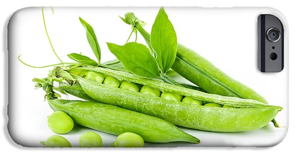 Freshness iPhone Cases - Pea pods and green peas iPhone Case by Elena Elisseeva