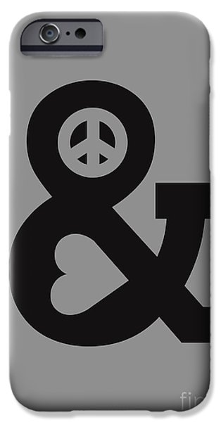 Typography iPhone Cases - Peace and Love iPhone Case by Budi Satria Kwan