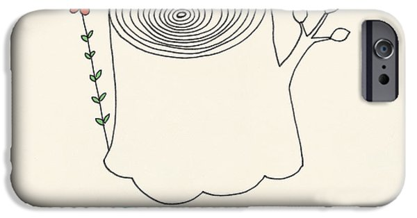 Love Drawings iPhone Cases - Peace and Love iPhone Case by Eric Fan