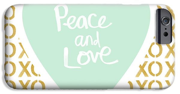 Encouragement iPhone Cases - Peace and Love in Aqua and Gold iPhone Case by Linda Woods