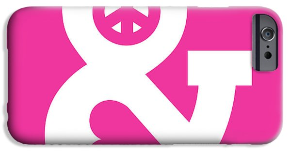Sign iPhone Cases - Peace and Love pink edition iPhone Case by Budi Kwan