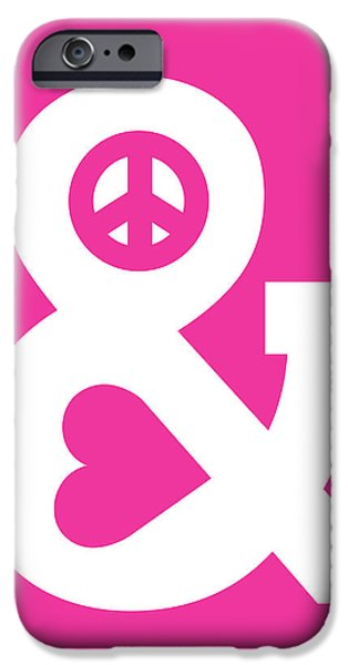 Peace and Love pink edition iPhone Case by Budi Satria Kwan