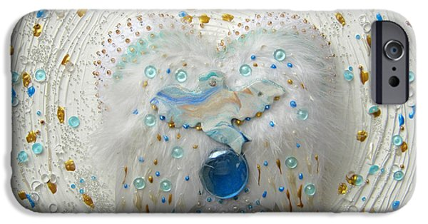Angel Reliefs iPhone Cases - Peace dove on angel feathers iPhone Case by Heidi Sieber