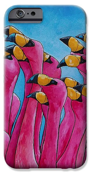 Peace Love And Flamingos iPhone Case by Patti Schermerhorn