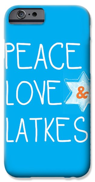 Chanukah iPhone Cases - Peace Love And Latkes iPhone Case by Linda Woods