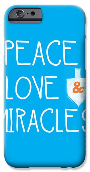 Miracle iPhone Cases - Peace Love and Miracles with Dreidel  iPhone Case by Linda Woods