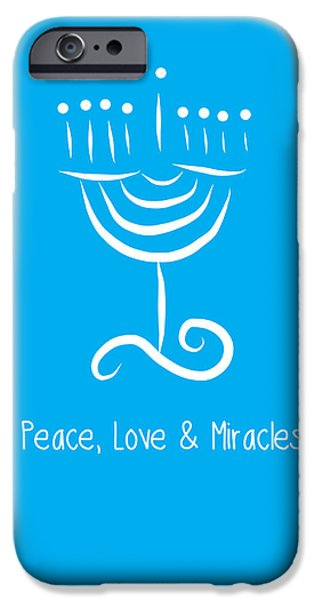 Chanukah iPhone Cases - Peace Love and Miracles with Menorah iPhone Case by Linda Woods