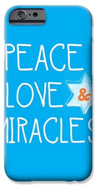 Miracle iPhone Cases - Peace Love and Miracles with Star of David iPhone Case by Linda Woods