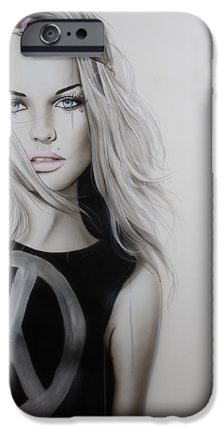 Hand Paint Brushed iPhone Cases - Peace Love and Psychadelia iPhone Case by Christian Chapman Art