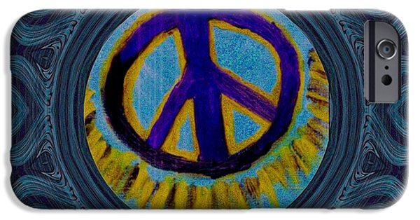 Sun Rays Mixed Media iPhone Cases - Peace on in collage style iPhone Case by Pepita Selles