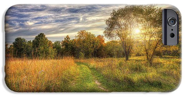 The Nature Center iPhone Cases - Peace On the Prairie - Fall sunset at Retzer Nature Center in Waukesha Wisconsin iPhone Case by The  Vault - Jennifer Rondinelli Reilly