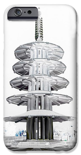 Japan Town iPhone Cases - Peace Pagoda - Japan Town - San Francisco iPhone Case by Daniel Hagerman