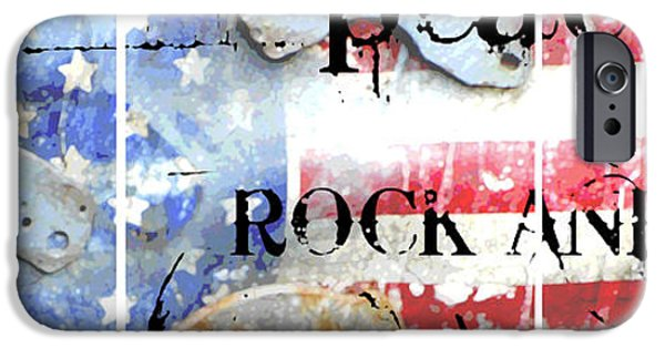 Juvenile Wall Decor iPhone Cases - Peace Rock Americana iPhone Case by ArtyZen Studios
