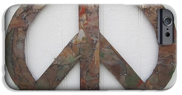 Farm Sculptures iPhone Cases - Peace Sign from Pieces recylced metal wall sculpture iPhone Case by Robert Blackwell
