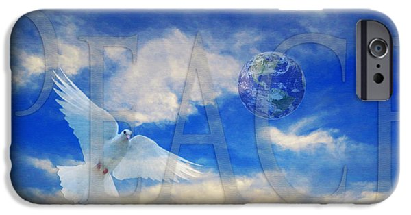 Dove iPhone Cases - Peace - World Peace Art By Sharon Cummings iPhone Case by Sharon Cummings
