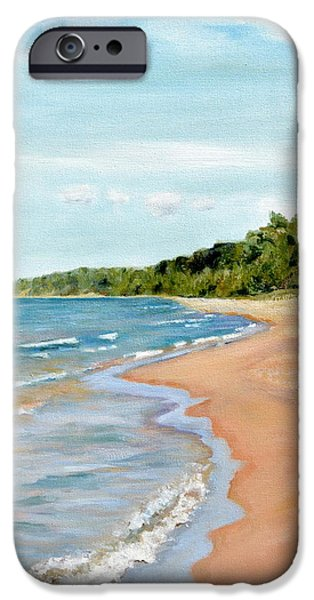 Chicago Paintings iPhone Cases - Peaceful Beach at Pier Cove iPhone Case by Michelle Calkins