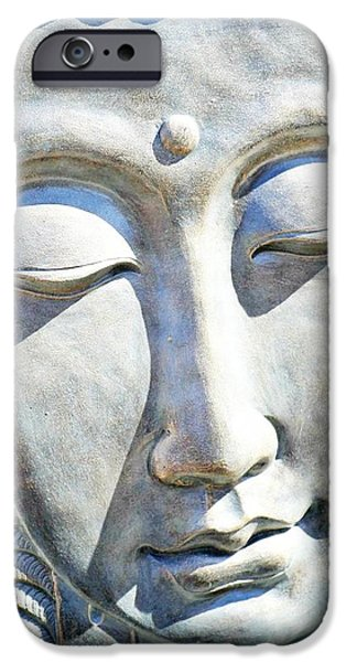 Statue Portrait iPhone Cases - Peaceful Buddha iPhone Case by CJ Anderson