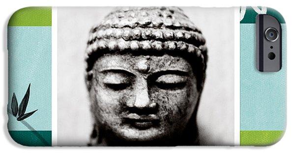 Buddha iPhone Cases - Peaceful Buddha- Zen Art iPhone Case by Linda Woods