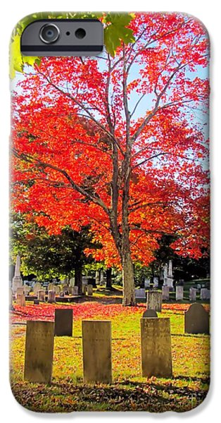 Headstones iPhone Cases - Peaceful iPhone Case by Elizabeth Dow