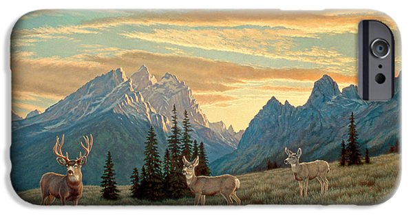 National Park Paintings iPhone Cases - Peaceful Evening - Tetons iPhone Case by Paul Krapf