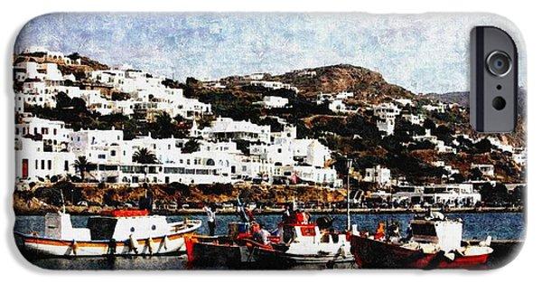 Abstract Digital Paintings iPhone Cases - Peaceful Harbour Scene-Greece H b iPhone Case by Gert J Rheeders