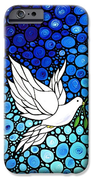 Abstract Canvas Paintings iPhone Cases - Peaceful Journey - White Dove Peace Art iPhone Case by Sharon Cummings