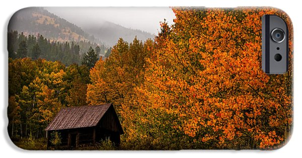 Log Cabin Art iPhone Cases - Peaceful iPhone Case by Ken Smith