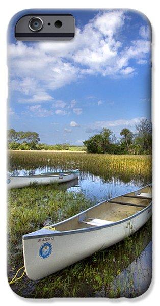 Canoeing iPhone Cases - Peaceful Prairie iPhone Case by Debra and Dave Vanderlaan
