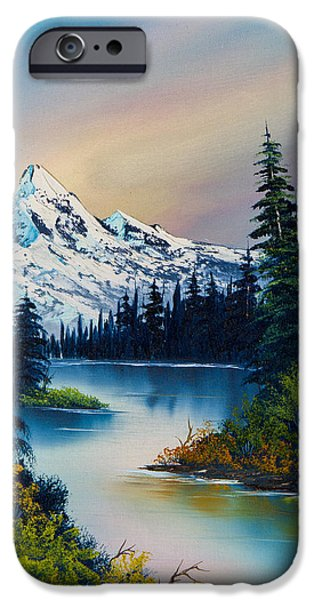 Bob Ross Paintings iPhone Cases - Tranquil Reflections iPhone Case by C Steele