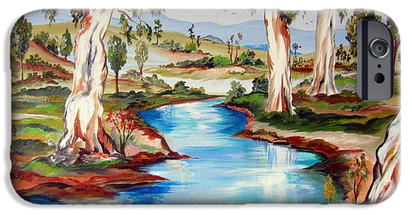 Roberto Paintings iPhone Cases - Peaceful River In The Australian Outback iPhone Case by Roberto Gagliardi
