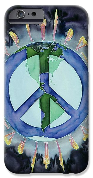 Black Tapestries - Textiles iPhone Cases - Peaceful Salutations iPhone Case by Carolyn Doe