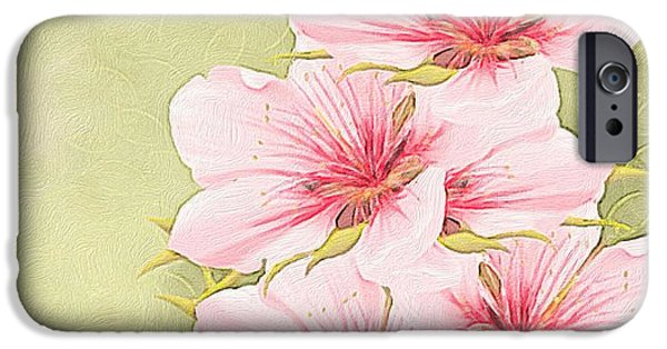 Abstract Digital Paintings iPhone Cases - Peach blossom iPhone Case by Veronica Minozzi