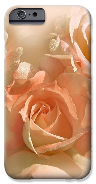 Peach Roses in the Mist iPhone Case by Jennie Marie Schell