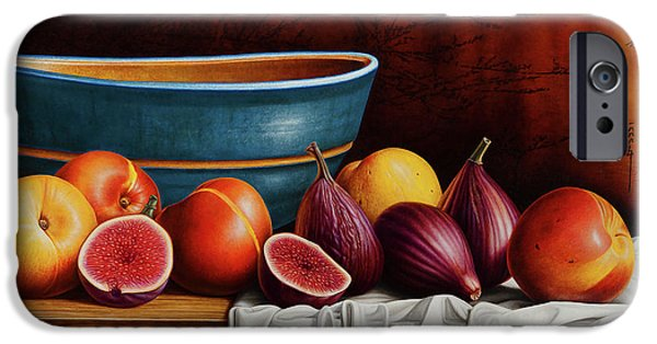 Vase iPhone Cases - Peaches and Figs iPhone Case by Horacio Cardozo
