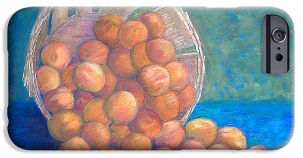 Basket Pastels iPhone Cases - Peaches in a Basket iPhone Case by Claire Norris