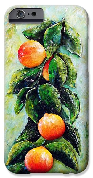 Original Sculptures iPhone Cases - Peachy day iPhone Case by Raya Finkelson