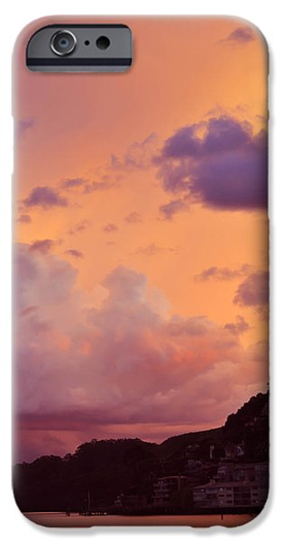 Sausalito iPhone Cases - Peachy Plum Sky iPhone Case by Maria Perry
