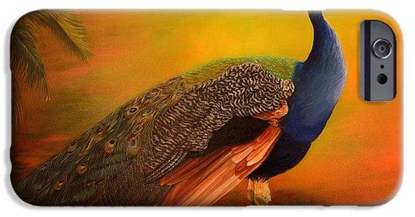 Original iPhone Cases - Peacock at sunrise iPhone Case by Zina Stromberg